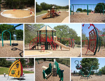Children playground in community collection. A few of publice children playground collection, TX USA Stock Photo