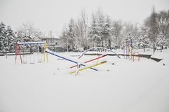 Children Playground Covered With Winter Snow Royalty Free Stock Images