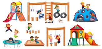 Children on playground equipment. Illustration stock illustration