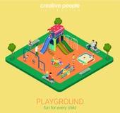 Children playground flat  3d isometric sandpit swing slide Stock Photo