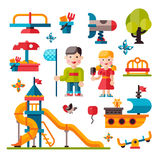 Children playground in flat style. Children playground. Teeter board, Swings, smile boy and girl. Sandpit and sandbox, bench, children slide, toy ship Stock Images
