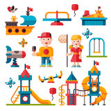 Children playground in flat style Stock Photography