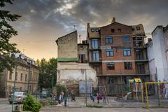Children playground in the Lviv city in Ukraine. Children playground full of kids in the Lviv city in Ukraine Stock Images