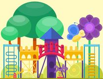 Children playground fun childhood play park activity flat vector illustration. Happy outdoor summer place recreation equipment toy kindergarten amusement Royalty Free Stock Photos