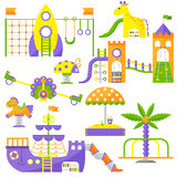 Children playground fun childhood play park activity flat vector illustration. Happy children playground activity and outdoor summer children playground place Royalty Free Stock Photos