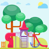 Children playground fun childhood play park activity flat vector illustration. Happy outdoor summer place recreation equipment toy kindergarten amusement Stock Photography