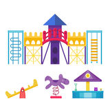 Children playground fun childhood play park activity flat vector illustration. Happy outdoor summer place recreation equipment toy kindergarten amusement Stock Photo