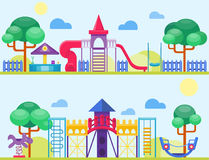 Children playground fun childhood play park activity flat vector illustration. Happy outdoor summer place recreation equipment toy kindergarten amusement Stock Photos