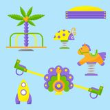 Children playground fun childhood play park activity place recreation. Children playground fun childhood play park activity flat swing vector illustration. Happy Royalty Free Stock Images