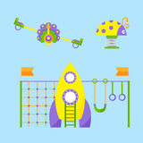 Children playground fun childhood play park activity place recreation swing equipment toy kindergarten amusement vector. Children playground fun childhood play Royalty Free Stock Photos