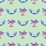 Children playground fun childhood seamless pattern play park activity flat vector illustration. Children playground fun childhood play seamless pattern park Stock Photography