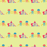 Children playground fun childhood seamless pattern play park activity flat vector illustration. Children playground fun childhood play seamless pattern park Royalty Free Stock Photos