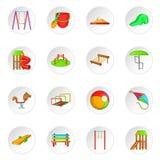 Children playground icons set, cartoon style Royalty Free Stock Images