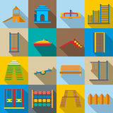 Children playground icons set Stock Photos