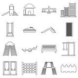 Children playground icons set, outline style Royalty Free Stock Photos