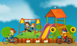Children at playground - illustration for the children Royalty Free Stock Photos