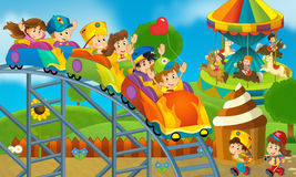 Children at playground - illustration for the children Royalty Free Stock Image