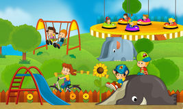 Children at playground - illustration for the children Stock Photography