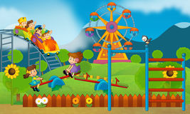 Children at playground - illustration for the children Royalty Free Stock Images