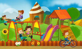 Children at playground - illustration for the children Stock Images