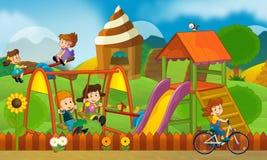 Children at playground - illustration for the children Stock Images
