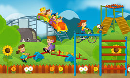 Children at playground - illustration for the children Royalty Free Stock Photography