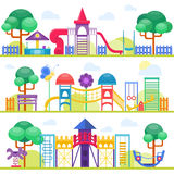 Children playground illustration. Children playground fun childhood play park activity flat vector illustration. Happy children playground activity and outdoor Stock Image