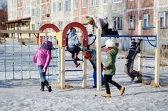 Children on the playground. The image of children playing on the playground Royalty Free Stock Photos