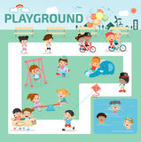 Children in the playground infographic elements flat design illustration, kids at playground, kids time. isolated on white backgro stock illustration