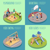 Children Playground Isometric Compositions. Including kids in sandbox, basketball game, swings and slides isolated vector illustration Stock Photo
