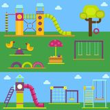 Children playground kindergarten amusement childhood play park activity place recreation swing equipment toy vector. Children playground fun childhood play park Royalty Free Stock Image