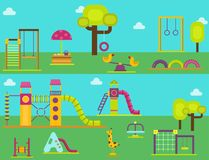 Children playground kindergarten amusement childhood play park activity place recreation swing equipment toy vector. Children playground fun childhood play park Stock Photos