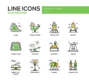 Children playground line design icons set Stock Photography