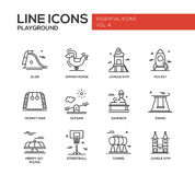 Children playground line design icons set Royalty Free Stock Photo