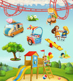 Children playground, outdoor games in the park. Characters and objects set of vector icons Stock Image