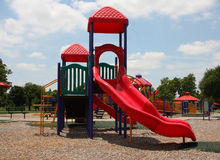 Colorful outdoor children playground. Children playground on the park, USA royalty free stock image
