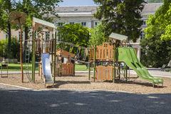 Children playground in a park in the city center Stock Photo