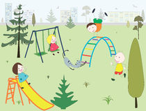 Children in a playground in a park in a city. Illustration of children and a cat having fun in a playground in a park in a city, cartoon, vector Stock Photos