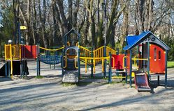 Children playground in the park. Fitness, happy royalty free stock photo