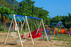 Children playground park in The morning. Stock Images