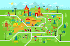 Children playground in the park with people and attractions for kids vector flat illustration. For infographic design. Children play on the playground. Mother Royalty Free Stock Photo