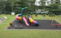 Children playground at residential property. stock photos