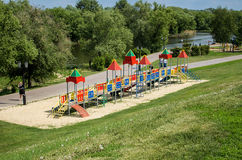 Children playground, on the river bank. Playground on the river bank, where children play Royalty Free Stock Images