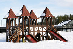 Children playground with slide. In winter Royalty Free Stock Image