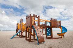 Children playground. Slide and climbing frames Royalty Free Stock Image
