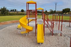Children Playground slide. Outdoors in park Royalty Free Stock Photo