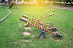 Children playground with sunlight,teetering board Royalty Free Stock Image
