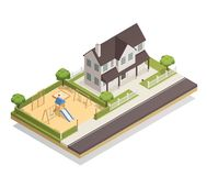 Playground Near Residential House Isometric Composition Royalty Free Stock Images