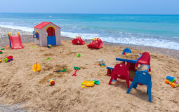 Children playground with toys and house Royalty Free Stock Image