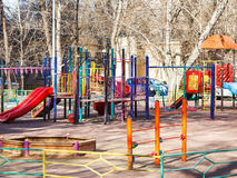 Children playground in urban yard Stock Photo